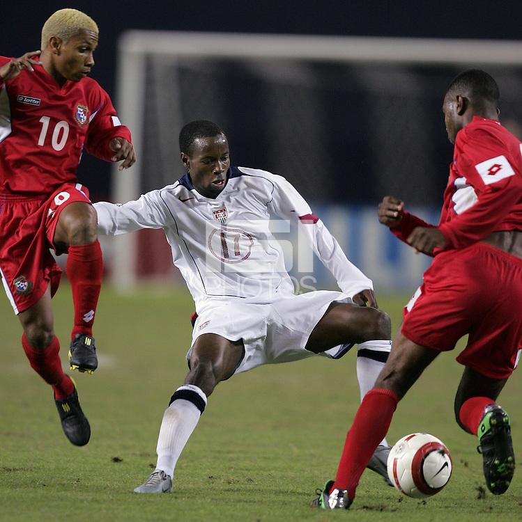 Julio Medina, left, DaMarcus Beasley, right, Panama vs USA, World Cup qualifier at RFK Stadium, 2004.