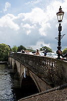 Henley on Thames. United Kingdom.  General View, Henley Bridge, from the Oxfordshire bank.    Thursday,  30/06/2016,      2016 Henley Royal Regatta, Henley Reach.   [Mandatory Credit Peter Spurrier/ Intersport Images]