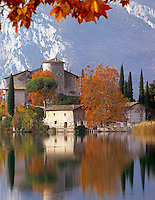 Italy, Trentino, Lake Garda, Castle Toblino at Lago di Toblino