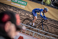 Zdenek Stybar (CZE/Deceuninck-Quick Step) diving into the infamous 'Pit'<br /> <br /> CX Superprestige Zonhoven (BEL) 2019<br /> Elite & U23 mens race