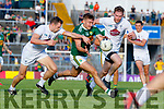 James O'Donoghue Kerry in action against James Murray and Cathal McNally Kildare during the GAA Football All-Ireland Senior Championship Quarter-Final Group 1 Phase 3 match between Kerry and Kildare at Fitzgerald Stadium in Killarney, on Saturday evening.