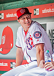 22 September 2018: Washington Nationals outfielder Andrew Stevenson sits in the dugout prior to a game against the New York Mets at Nationals Park in Washington, DC. The Nationals shut out the Mets 6-0 in the 3rd game of their 4-game series. Mandatory Credit: Ed Wolfstein Photo *** RAW (NEF) Image File Available ***