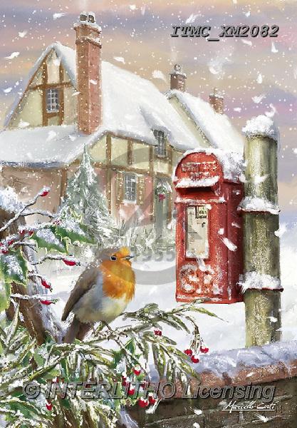 Marcello, CHRISTMAS LANDSCAPES, WEIHNACHTEN WINTERLANDSCHAFTEN, NAVIDAD PAISAJES DE INVIERNO, paintings+++++,ITMCXM2082,#XL# ,red robin