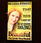 Theatre Marquee for Melissa Benoit during her Opening Night debut in 'Beautiful-The Carole King Musical' at the Stephen Sondheim on June 12, 2018 in New York City.