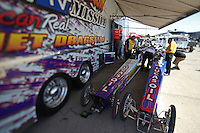 Apr. 5, 2013; Las Vegas, NV, USA: (Editors note: Special effects lens used in creation of this image) NHRA exhibition jet dragsters during qualifying for the Summitracing.com Nationals at the Strip at Las Vegas Motor Speedway. Mandatory Credit: Mark J. Rebilas-