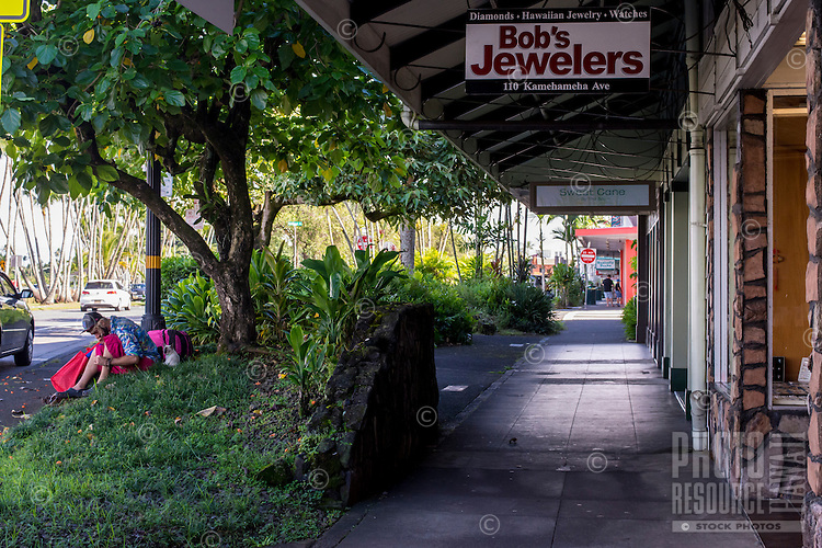 Stores along the waterfront near King Kamehameha Avenue, downtown Hilo, Big Island of Hawai'i.