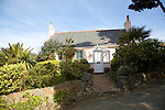 Small pink holiday home, Island of Herm, Channel Islands, Great Britain