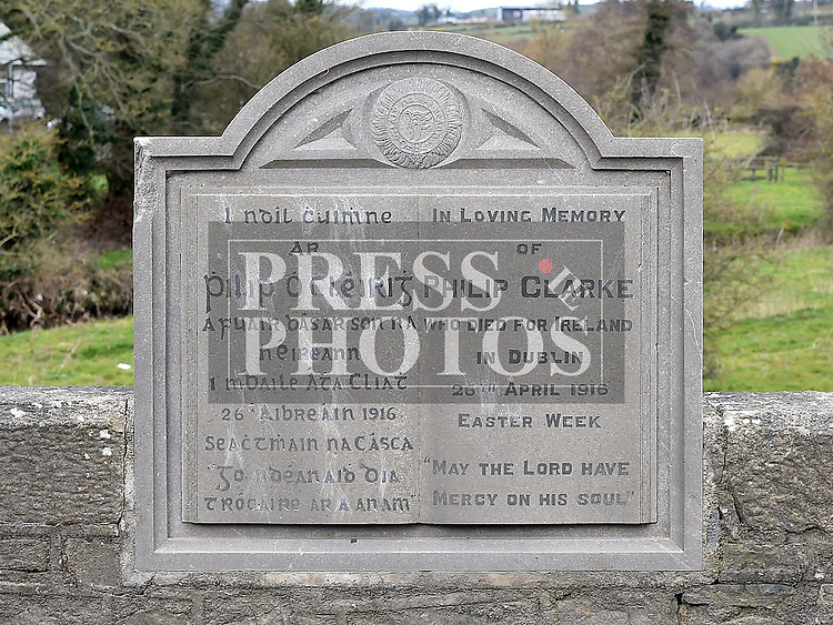 A plaque in memory of Philip Clarke from Monknewtown, Rossin Slane who was killed in the 1916 rising at Rossin Bridge. Photo:Colin Bell/pressphotos.ie