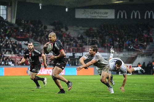 28.02.2016. Toulouse, Frace. Top14 rugby union league, Toulouse versus Montpellier. Try scored by Paul Perez (st)