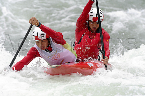 13 August 2008: Chinese pair Minghai Hu and Junrong Shu (CHN) competing in the heats of the men's Canoe Double C2 during the Beijing Olympics Photo: Leo Mason/Action Plus..olympics games 080813 beijing Kayak Slalom