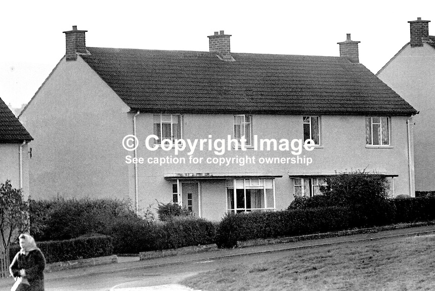 Family home at Slieve Gullion, Andersonstown, Belfast, N Ireland, of Dolours &amp; Marion Price, sisters prominently involved with Provisional Sinn Fein and the Provisional IRA. The Price home is the left of the two semi-detached houses. 197406070312<br />