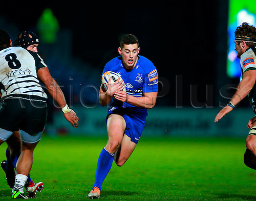 21.03.2014 Dublin, Ireland.  Noel Reid (Leinster) drives for a gap during the RaboDirect Pro 12 game between Leinster and Zebre from RDS Arena.