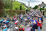 The peloton on the first ascent of Mur de Huy during the 83rd edition of La Fl&egrave;che Wallonne 2019, running 195km from Ans to Huy, Belgium. 24th April 2019<br /> Picture: ASO/Gautier Demouveaux | Cyclefile<br /> All photos usage must carry mandatory copyright credit (&copy; Cyclefile | ASO/Gautier Demouveaux)