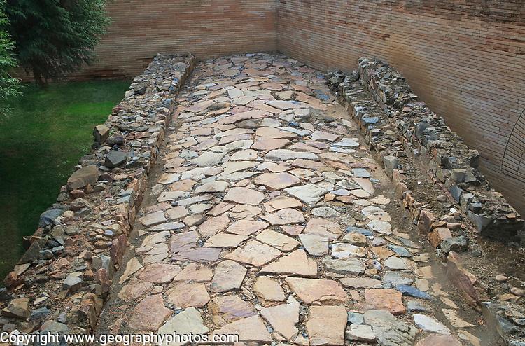 Paved Roman road Museo Nacional de Arte Romano, national museum of Roman art, Merida, Extremadura, Spain