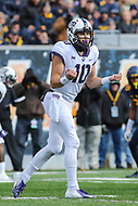 Morgantown, WV - November 10, 2018: TCU Horned Frogs quarterback Michael Collins (10) changes the play during the game between TCU and WVU at  Mountaineer Field at Milan Puskar Stadium in Morgantown, WV.  (Photo by Elliott Brown/Media Images International)