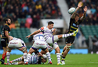 Ben Youngs of Leicester Tigers box-kicks the ball as Teimana Harrison of Northampton Saints looks to charge him down. Gallagher Premiership match, between Northampton Saints and Leicester Tigers on October 6, 2018 at Twickenham Stadium in London, England. Photo by: Patrick Khachfe / JMP
