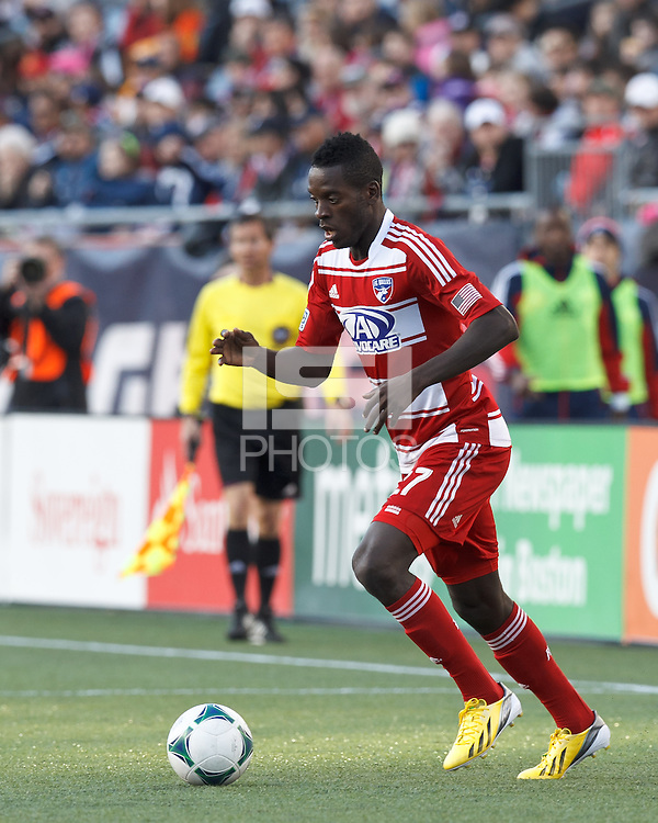 FC Dallas substitute midfielder Je-Vaughn Watson (27) in the corner..  In a Major League Soccer (MLS) match, FC Dallas (red) defeated the New England Revolution (blue), 1-0, at Gillette Stadium on March 30, 2013.