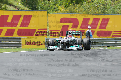Mercedes Formula One driver Michael Schumacher of Germany drives during the Qualifyer of the Hungarian F1 Grand Prix in Mogyorod (about 20km north-east from Budapest), Hungary. Saturday, 30. July 2011. ATTILA VOLGYI