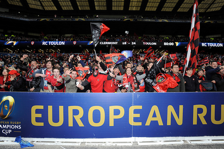 RC Toulon fans celebrate becoming the first champions of Europe three years in a row