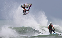 Jetski rider Ryan Neal shows his skill in the surf during the Yamaha NZ Festival of Freeride jetski event, held at Karioitahi Beach, Waiuku, New Zealand.   09 February 2018. Photo: Brett Phibbs / PhibbsVisuals