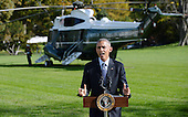 """United States President Obama delivers a statement on Ebola from  the South Lawn of the White House in Washington, D.C. on Tuesday, October 28, 2014. In his remarks the President said America """"cannot shy away"""" from leadership.  He then departed for Milwaukee for campaign events, and is scheduled to return tonight.<br /> Credit: Olivier Douliery / Pool via CNP"""