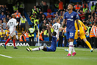 Kurt Zouma of Chelsea on the floor frustrated during the Premier League match between Chelsea and Sheff United at Stamford Bridge, London, England on 31 August 2019. Photo by Carlton Myrie / PRiME Media Images.