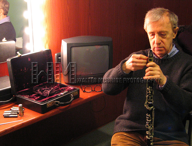 *** EXCLUSIVE Coverage ***.Woody Allen and his New Orleans Jazz Band performing at Placio De Los Congresos y De La Musica Euskalduna in Bilbao, Spain..( in his Dressing Room Rehearsing ).December 29, 2004.© Walter McBride /