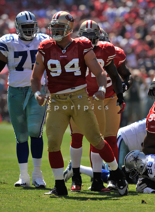 JUSTIN SMITH, of the  San Francisco 49ers, in action during the 49ers game against the Dallas Cowboys on September 18, 2011 at Candlestick Park in San Francisco, CA. The Cowboys beat the 49ers 27-24 in OT.