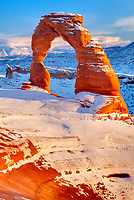 Delicate Arch, Arches National Park, Utah La Sal Mountains beyond, Heavy Winter Snow