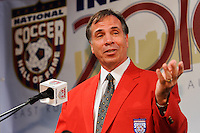 Bruce Arena gives his acceptance speech during the induction ceremony for the National Soccer Hall of Fame at the New Meadowlands Stadium in East Rutherford, NJ, on August 10, 2010.