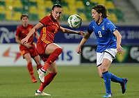 20180307 - LARNACA , CYPRUS : Italian Daniela Sabatino (right) pictured in a duel with Virginia Torrecilla Reyes (left) during a women's soccer game between Italy and Spain , on wednesday 7 March 2018 at the AEK Arena in Larnaca , Cyprus . This is the final game for the first place  for  Italy and  Spain on the Cyprus Womens Cup , a prestigious women soccer tournament as a preparation on the World Cup 2019 qualification duels. PHOTO SPORTPIX.BE | DAVID CATRY