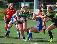 20190928 - Neder Over Hembeek, BELGIUM : Dendermonde's player is pictured stiff arming the AAC Amsterdam's player during the female rugby match between the Dendermonde RC Women  and AAC Amsterdam Rugby Women, this is the final of the BeNeCup  on Saturday 28th September 2019 at the Nelson Mandela Stadium , Belgium. PHOTO SPORTPIX.BE | SEVIL OKTEM