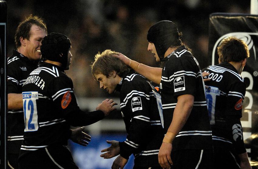 Photo: Jed Wee..Newcastle Falcons v Sale Sharks. Guinness Premiership. 26/12/2006...Newcastle celebrate a Mathew Tait try (C).