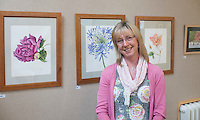 Student exhibits work done on the watercolour course, Harvey Gallery, Adult Learning Centre, Guildford, Surrey.