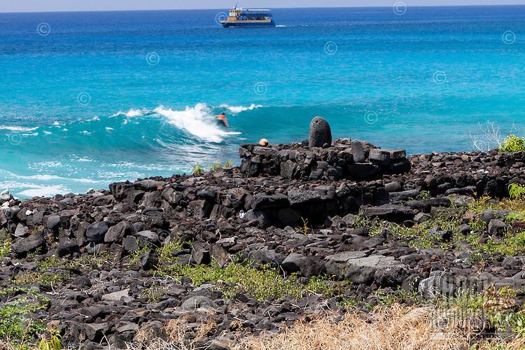 Kula Iwi stone shrine altar along the ocean in Kailua-Kona, Big Island, Hawaii