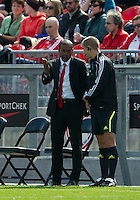 17 September 2011: Toronto FC head coach Aron Winter talks to the third offical during a game between the Colorado Rapids and Toronto FC at BMO Field in Toronto..Toronto FC won 2-1.