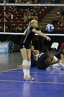 15 December 2007: Stanford Cardinal Joanna Evans during Stanford's 25-30, 26-30, 30-23, 30-19, 8-15 loss against the Penn State Nittany Lions in the 2007 NCAA Division I Women's Volleyball Final Four championship match at ARCO Arena in Sacramento, CA.