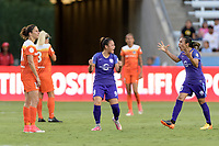 Houston, TX - Saturday June 17, 2017: Camila Martins Pereira celebrates her goal with Marta Vieira Da Silva during a regular season National Women's Soccer League (NWSL) match between the Houston Dash and the Orlando Pride at BBVA Compass Stadium.