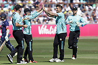 Jade Dernbach of Surrey celebrates with his team mates after taking the wicket of Adam Wheater during Essex Eagles vs Surrey, Vitality Blast T20 Cricket at The Cloudfm County Ground on 5th August 2018