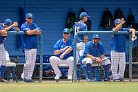 UC-Riverside Highlanders head coach Troy Percival signaling his pitcher during the game against the Cal Poly San Luis Obispo Mustangs at Riverside Sports Complex on May 26, 2018 in Riverside, California. The Cal Poly SLO Mustangs defeated the UC Riverside Highlanders 6-5. (Donn Parris/Four Seam Images)