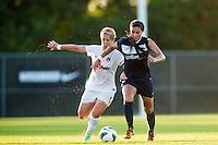 Sweat flies as Washington Spirit midfielder Lori Lindsey (6) and Sky Blue FC midfielder Nayeli Rangel (7) battle for the ball in 90 degree heat. Sky Blue FC defeated the Washington Spirit 1-0 during a National Women's Soccer League (NWSL) match at Yurcak Field in Piscataway, NJ, on July 6, 2013.