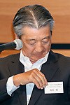 Showa Shell Sekiyu KK President Tsuyoshi Kameoka attends a news conference on May 9, 2017, Tokyo, Japan. The two oil distributors announced a business alliance to consolidate their refining and supply operations. Despite opposition from Idemitsu's founding family, the companies signed the agreement today and it will take immediate effect under the banner ''Brighter Energy Alliance.'' (Photo by Rodrigo Reyes Marin/AFLO)