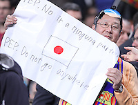 5/05/2012. Barcelona, Spain. La Liga. Fans show messages to Pep Guardiola during match FC Barcelona against RCD ESpanyol at Campo Nou