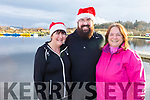 Jackie and James Treanor from Abbeydorney with Ann Lynch from Tralee at the Santa Fun run in memory of Fiona Moore, in the Tralee Bay Wetlands on Sunday.