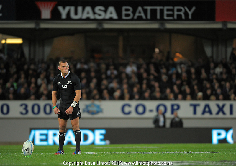 Aaron Cruden prepares to kick for goal during the international rugby match between the New Zealand All Blacks and France at Eden Park, Auckland, New Zealand on Saturday, 8 June 2013. Photo: Dave Lintott / lintottphoto.co.nz