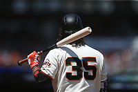 SAN FRANCISCO, CA - JULY 9:  Brandon Crawford #35 of the San Francisco Giants bats against the Miami Marlins during the game at AT&T Park on Sunday, July 9, 2017 in San Francisco, California. (Photo by Brad Mangin)
