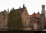 Malvenda Perez House, Wollestraat Hotels and Belfort Bell Tower, Djiver at Rozenhoedkaai Red Hat Quay, Bruges, Brugge, Belgium