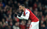 Alexandre Lacazette of Arsenal celebrates scoring his goal from the penalty spot 2-1 during the UEFA Europa League QF 1st leg match between Arsenal and CSKA Moscow  at the Emirates Stadium, London, England on 5 April 2018. Photo by Andrew Aleksiejczuk / PRiME Media Images.