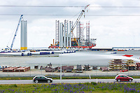 Siemens wind turbines to harness renewable wind energy under construction at Esbjerg in South Jutland, Denmark