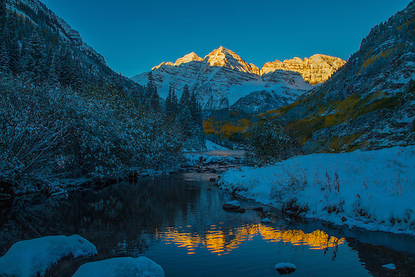 The Maroon Bells at sunrise, Aspen, Colorado, .  John leads private photo tours throughout Colorado. Year-round Colorado photo tours.